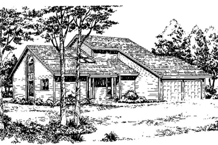 Front View to this set of house plans.