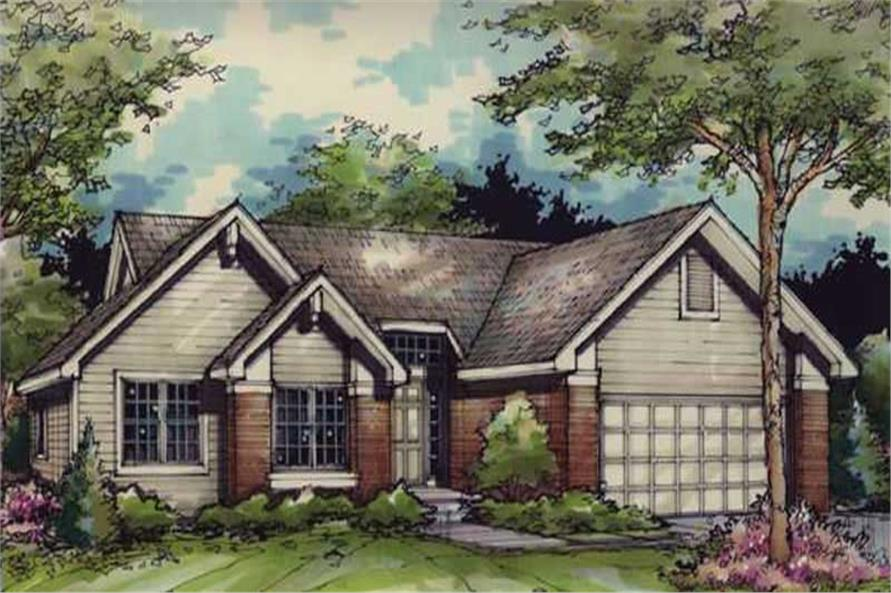 Colored front rendering for Ranch Homeplans LS-B-90041.