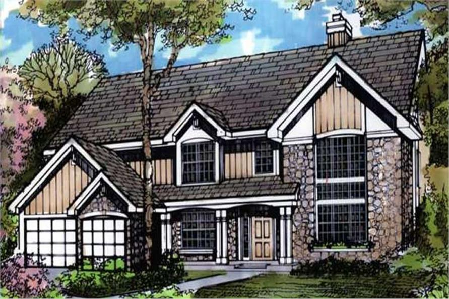 Country House Plans LS-B-90035 colored front elevation.