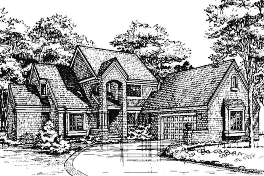 This image shows the front elevation of these European Country House Plans.