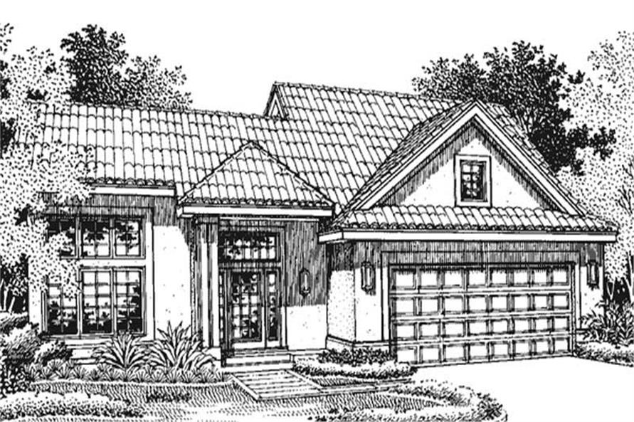 This is the front elevation of Mediterranean Houseplans LS-B-94032.