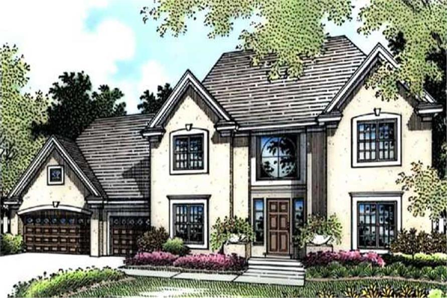 This image is a colored rendering of European Houseplans LS-B-95021.