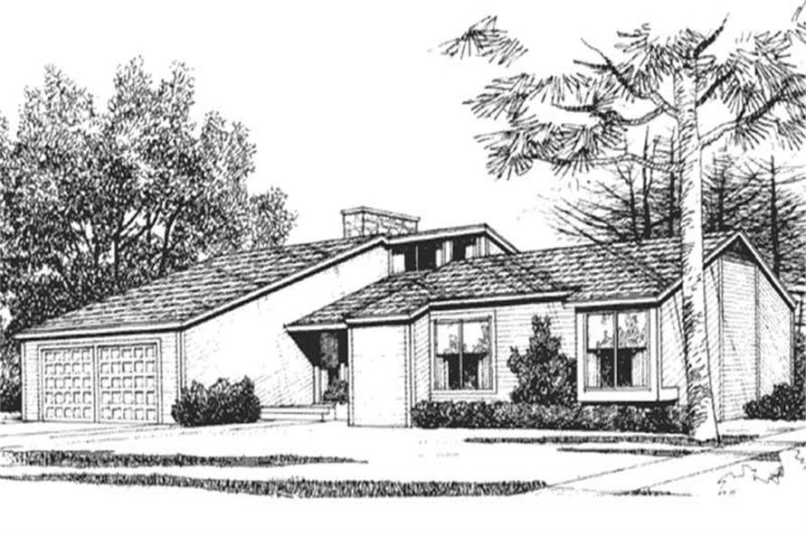 This is the front elevation of Contemporary House Plans LS-H-3696-1A.