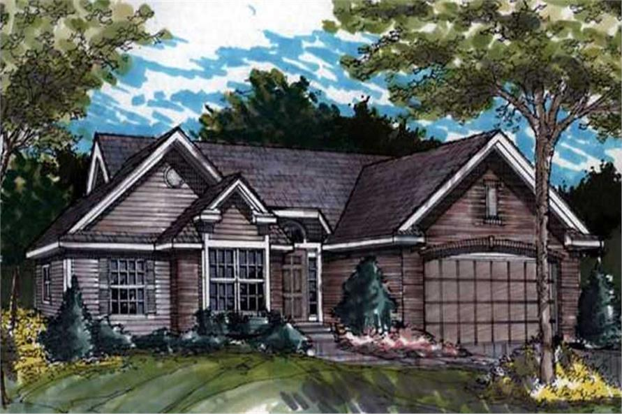 Country Home Plans LS-B-90048 colored front elevation.
