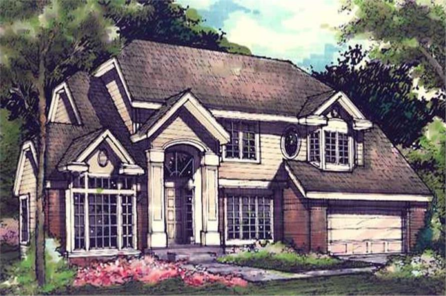 Colored Front Elevation Image for Country Homeplans.