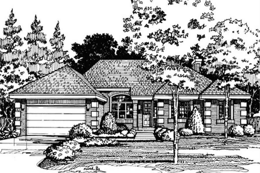 This image shows the European/Country/Ranch Style of this set of house plans.