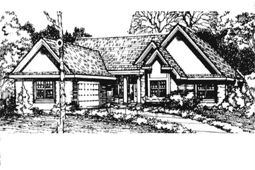 Country Homeplans LS-B-90031 front elevation.