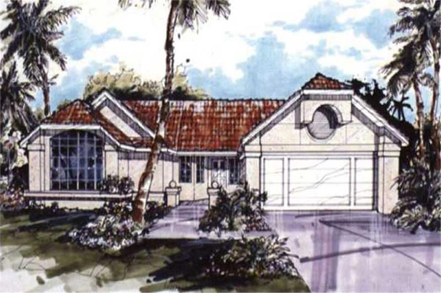 This image shows the Florida/Mediterranean/Southwestern Style of this set of house plans.
