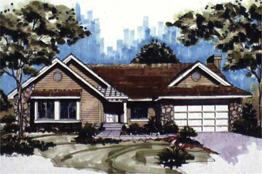 This image shows the Traditional/Ranch Style of this house plan.