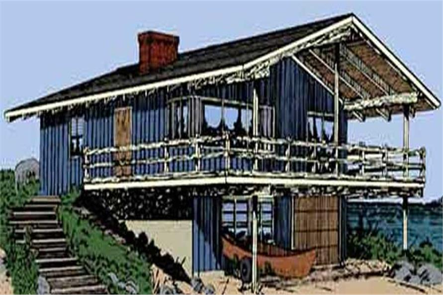 This is the colored front elevation of Beachfront Home Plans LS-H-806-2.