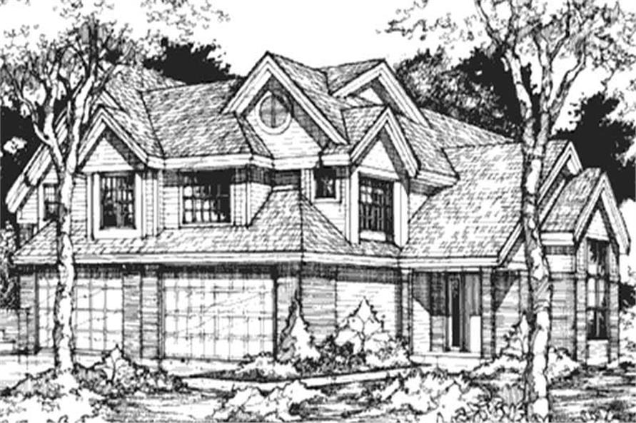 This image shows the Front elevation of these Multi-Unit Homeplans LS-B-93007.