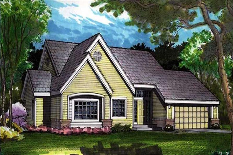 Country Houseplans LS-B-91026 colored rendering.