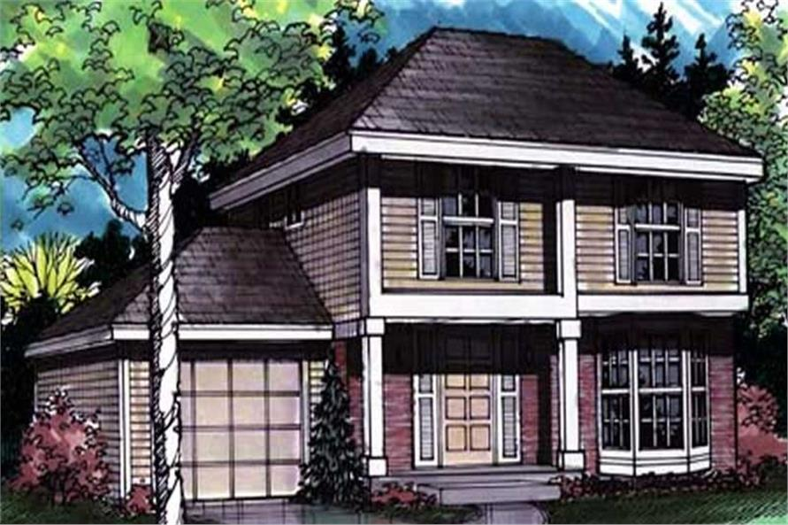 Colored Front Elevation Rendering for European Homeplans LS-B-92008.