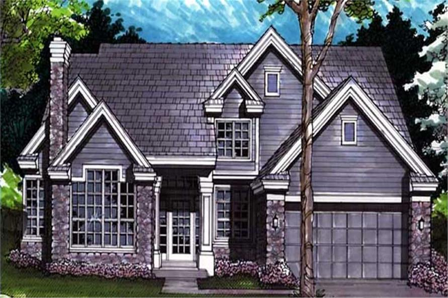Country Homeplans LS-B-91035 colored front elevation.