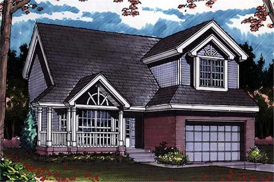 Colored front elevation rendering for Country Homeplans LS-B-92006.