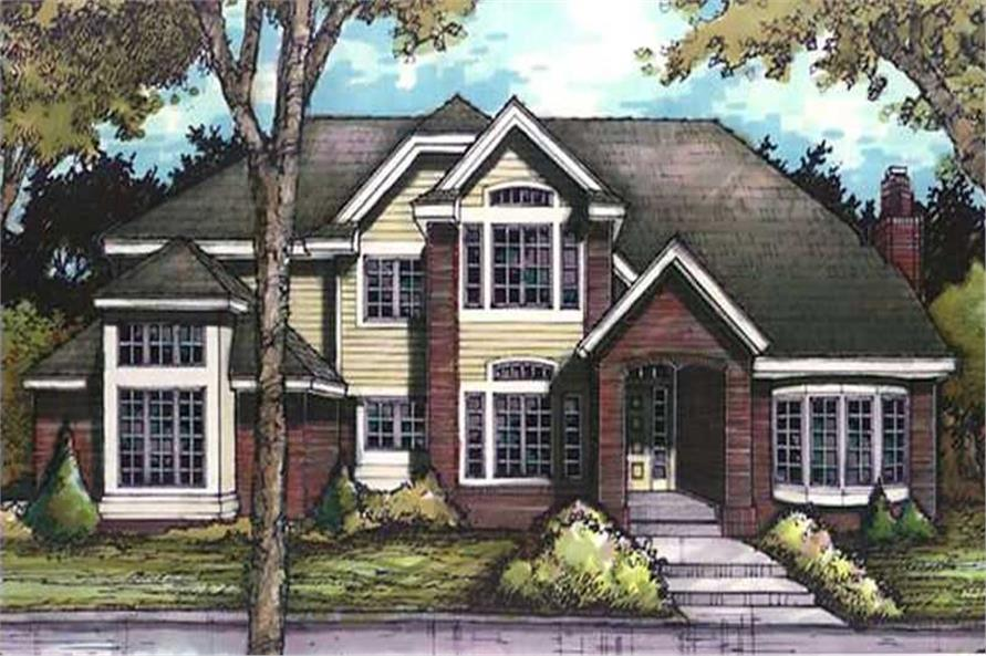 This image shows the front elevation for European Homeplans LS-B-91036.