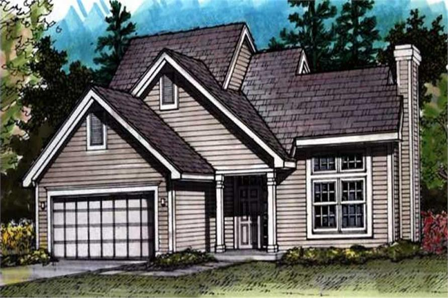 Country House Plans LS-B-91039 colored front elevation.