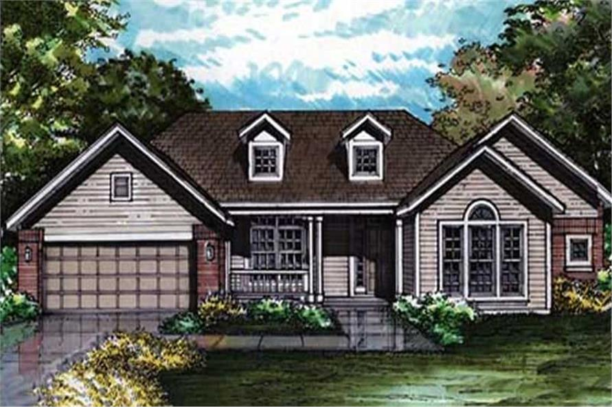 Colored front rendering of Ranch Houseplans LS-B-92004.