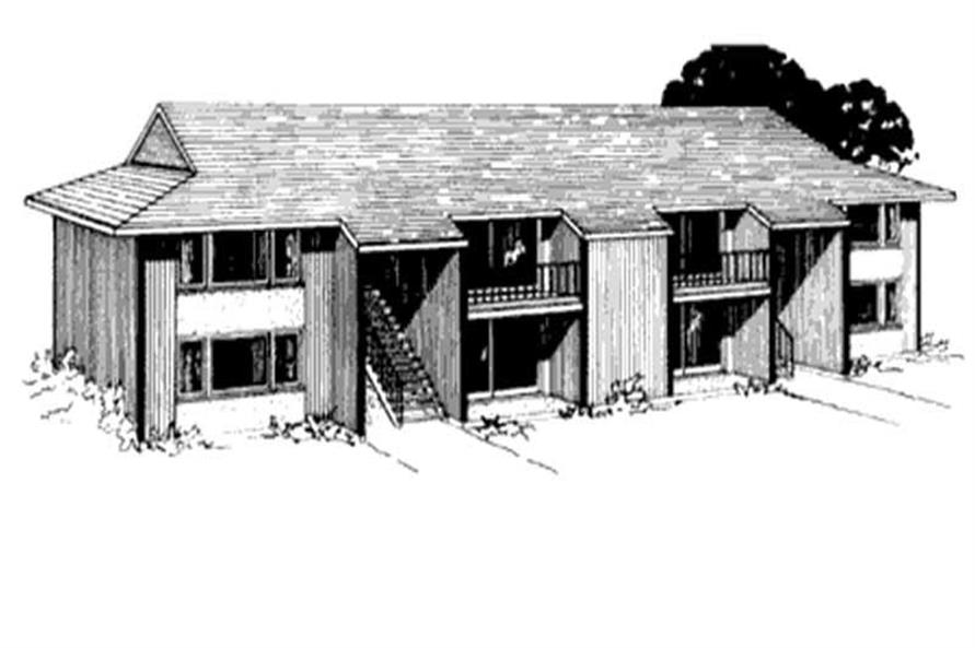 Rendering of Multi-Unit home plan (ThePlanCollection: House Plan #146-1640)
