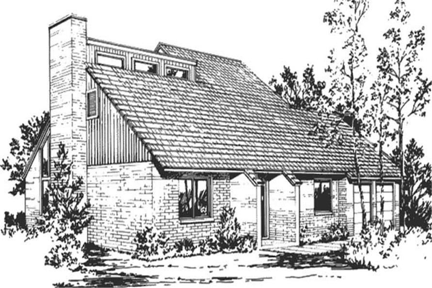 This is the front elevation of Passive Solar Home Plans LS-H-877-M5A.