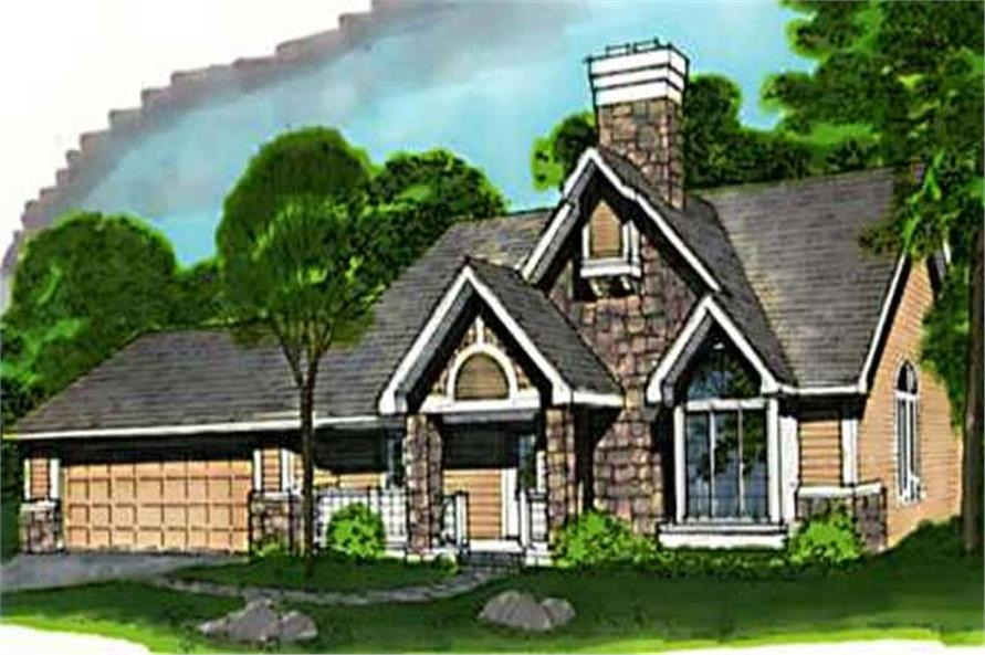 This image shows the 1-1/2 Story/Country/Ranch Style of this set of house plans.