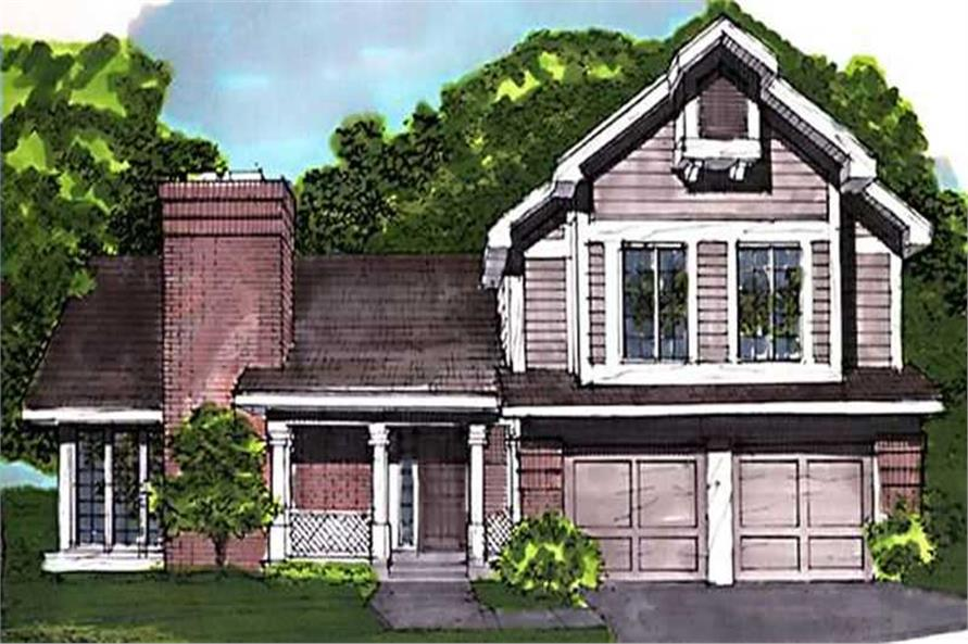 Color rendering of Country home plan (ThePlanCollection: House Plan #146-1680)