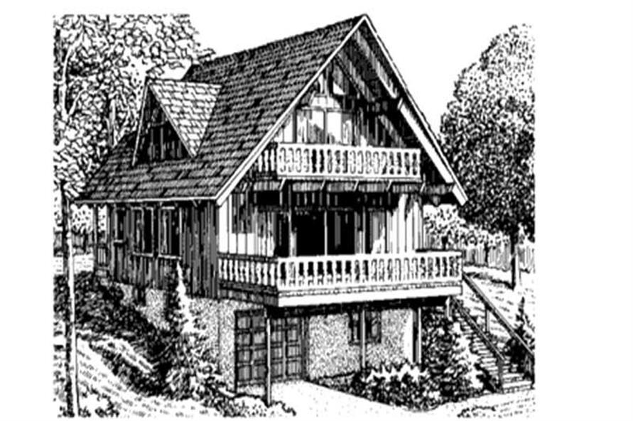 This is the front elevation for Vacation House Plans LS-H-26-1.