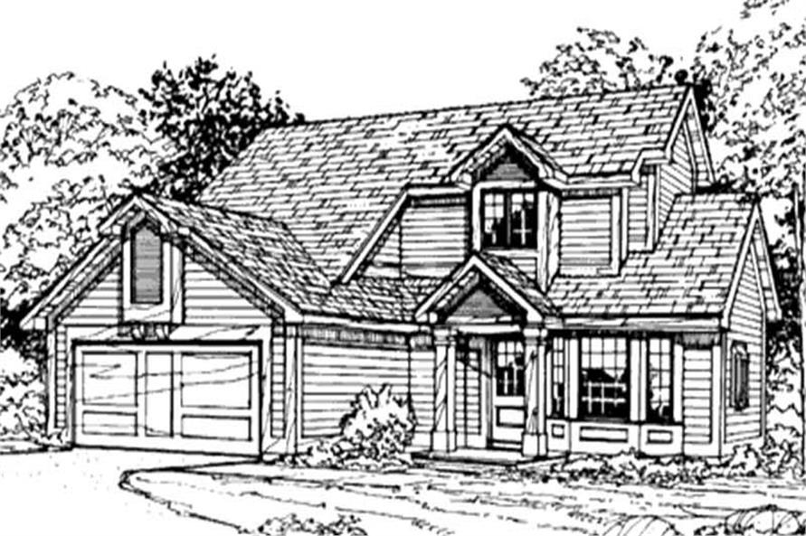 This image shows the 1-1/2 Story/Traditional/Country Style of this set of house plans.