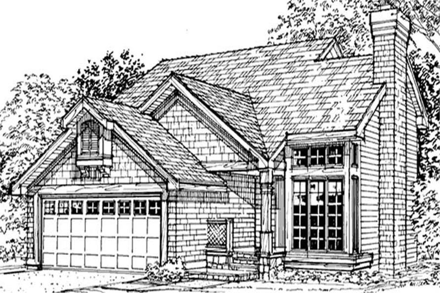 This image shows the 1-1/2 Story/Traditional/Country/Ranch Style of this set of house plans.