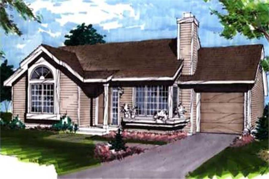 This image shows the ranch/postmodern style of this house plan.