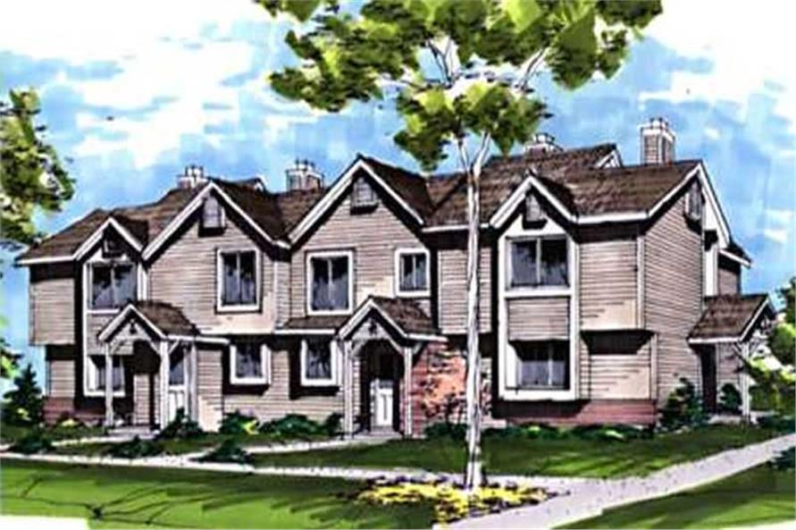 Color rendering of Multi-Unit home plan (ThePlanCollection: House Plan #146-1855)