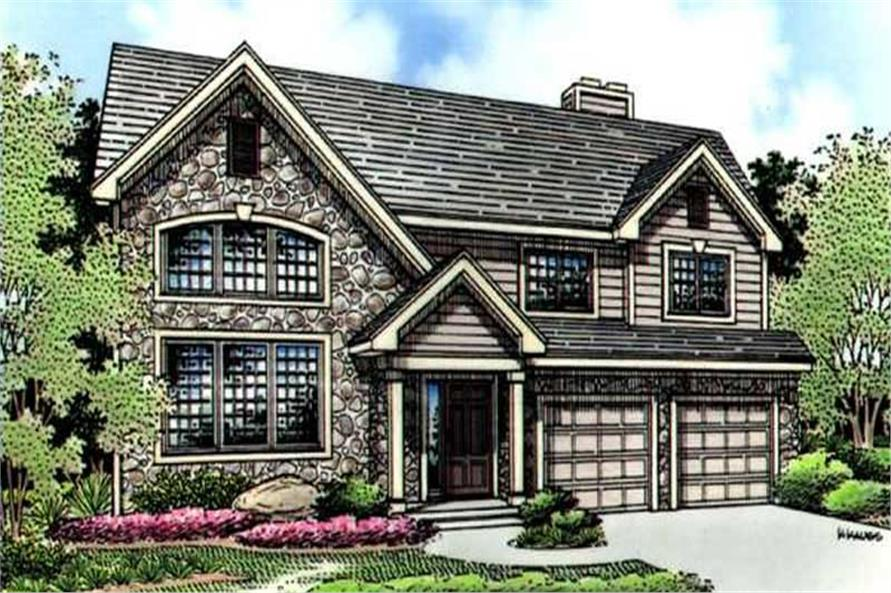 This is a colored rendering of Country Homeplans LS-B-95018.