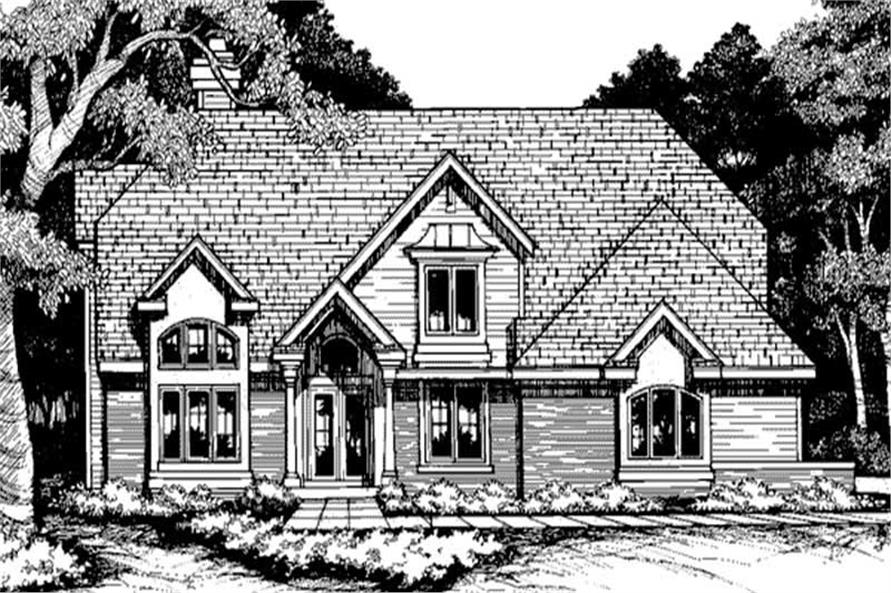 This image shows the front elevation of these Country Homeplans LS-B-94005.