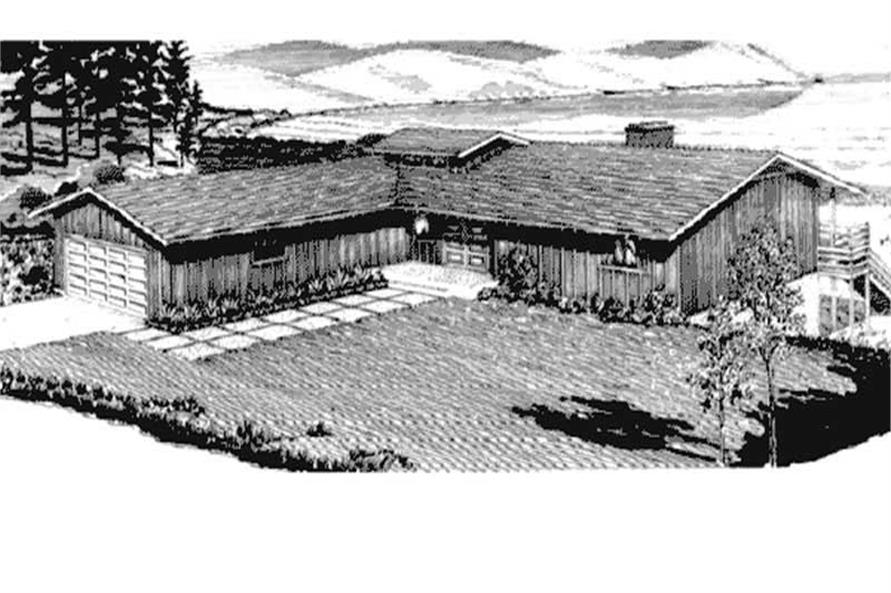 This image shows the front elevation of Ranch Home Plans LS-H-868-1A.