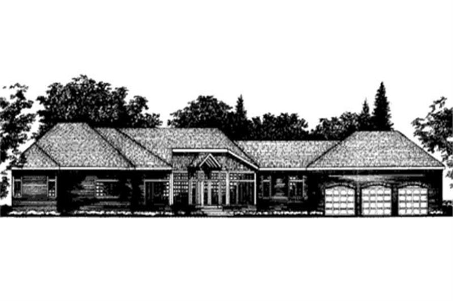 This image shows the Ranch style for this set of house plans.