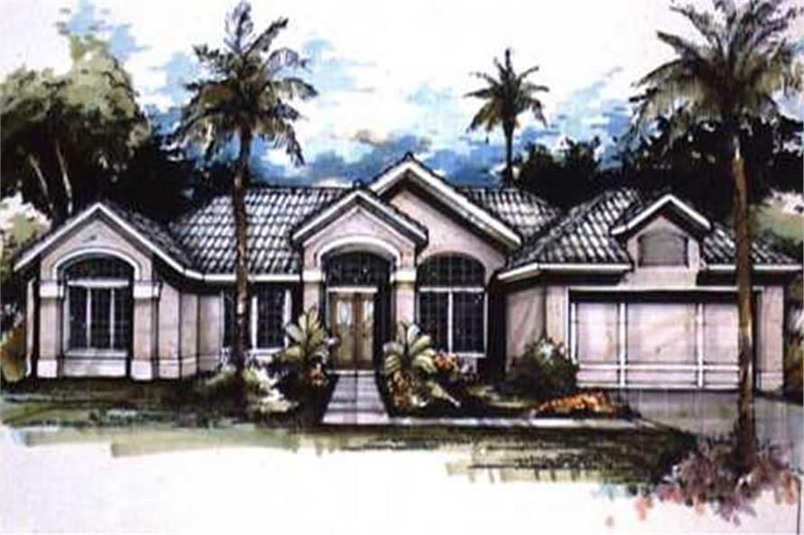 Colored Rendering Front Elevation of Mediterranean Home Plans.