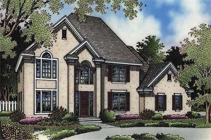 This is the colored front elevation of European Homeplans LS-B-94010.