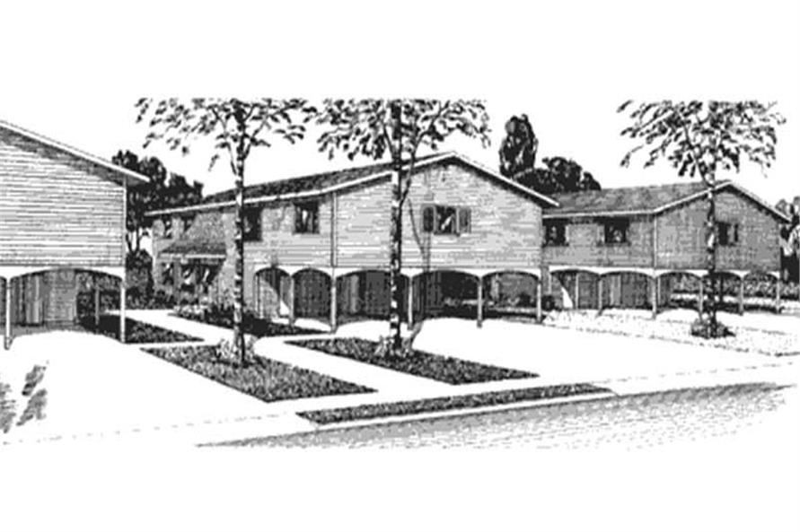 This image shows the front elevation of Multi Unit Houseplans LS-H-561-2A3.