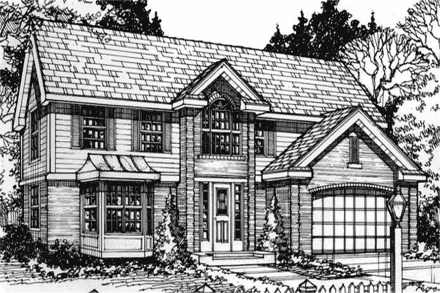 Colonial House Plans LS-B-90024 front elevation.