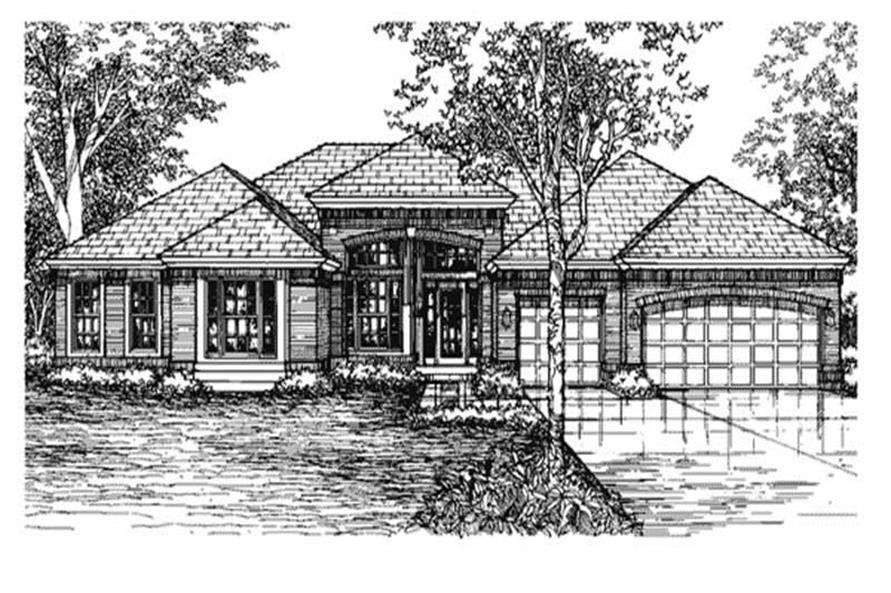 This is the front elevation of these Ranch Plans LS-B-93011.