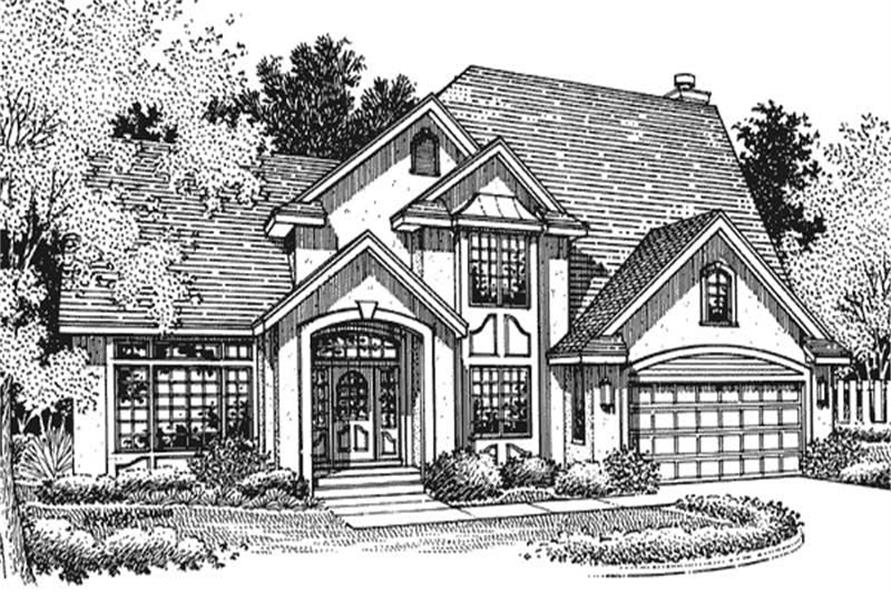 This image shows the front elevation of these French Homeplans LS-B-95002.