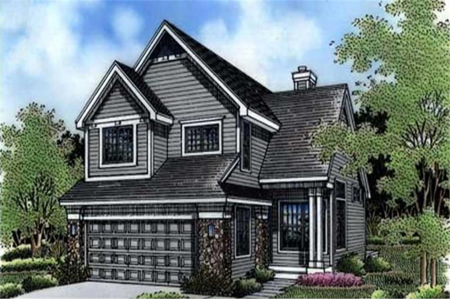 This colored rendering shows the front elevation of Country House Plans LS-B-94007.