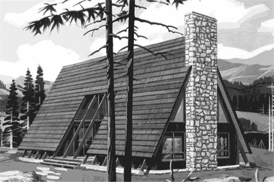 This is the front elevation of A-Frame Homeplans LS-H-770-2.