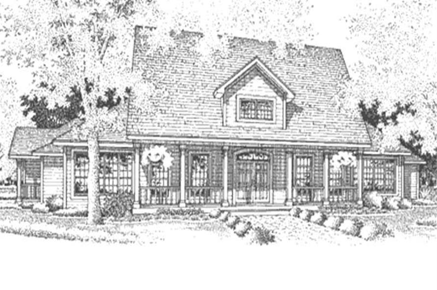 This is the front elevation of these southern homeplans LS-B-94019.
