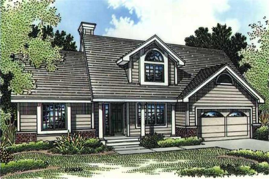 This image shows the colored rendering of Country Houseplans LS-B-95015.