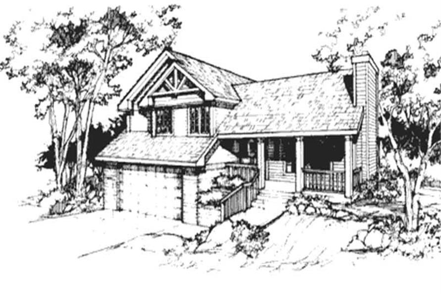 This image shows the front elevation of these Country House Plans, Ranch House Plans, Traditional House Plans, Multi-Level House Plans.