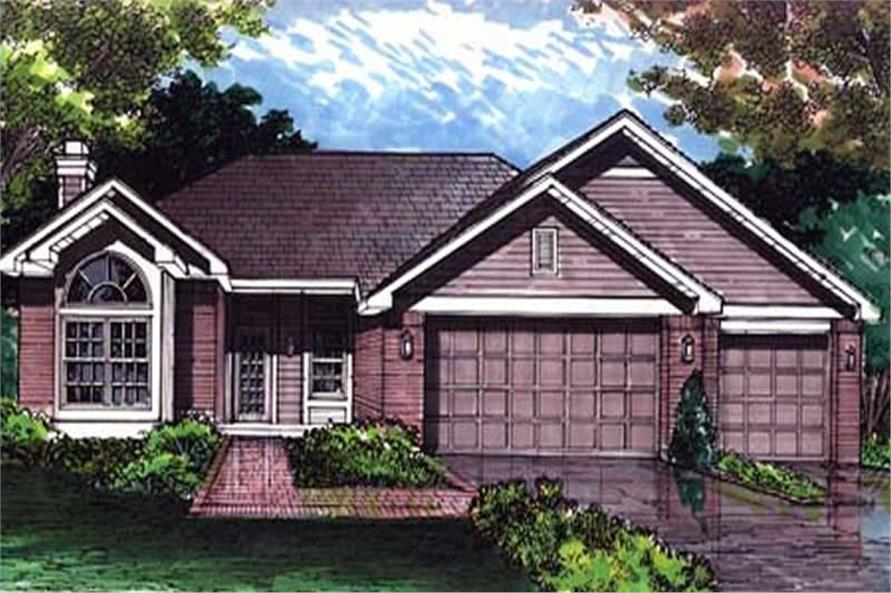 This is the colored front elevation of Ranch House Plans LS-B-92029.