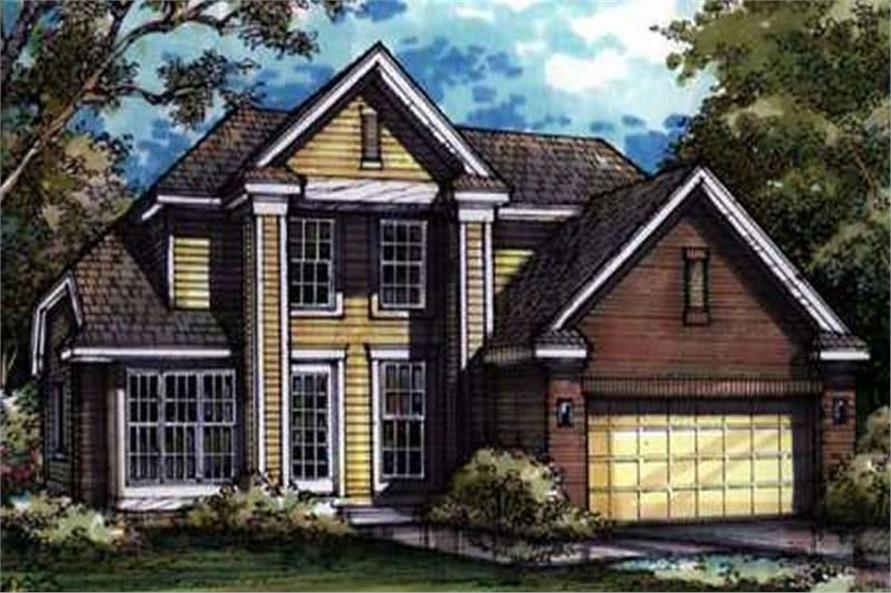 This is the front elevation for Country Homeplans LS-B-92014.