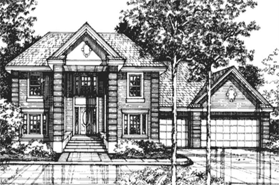 This image shows the front elevation of Georgian Houseplans LS-B-92026.