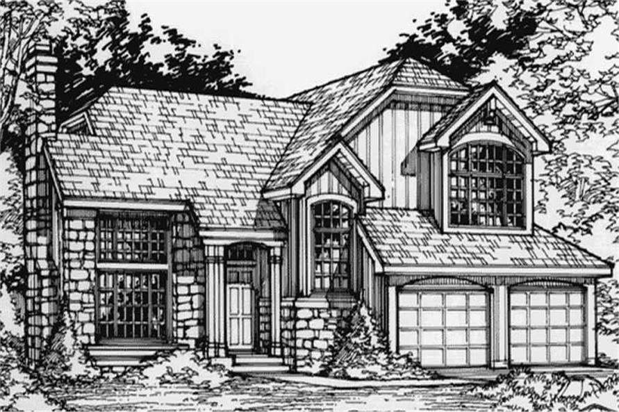 Country Houseplans LS-B-90052 front elevation.